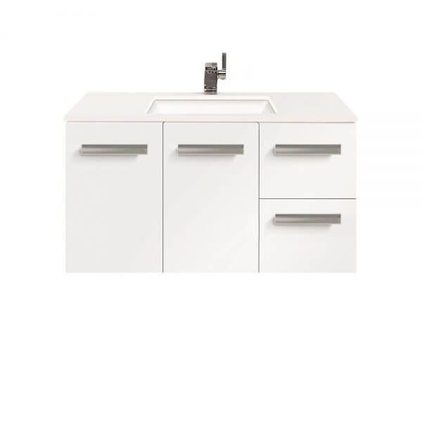 Linea 900 wallhung white vanity with whitestone top for Bathroom cabinet 900 x 600