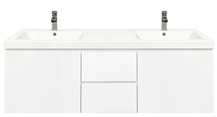 Mont Albert 1500 Wallhung White Vanity with Polymarble Top & Centered Drawers