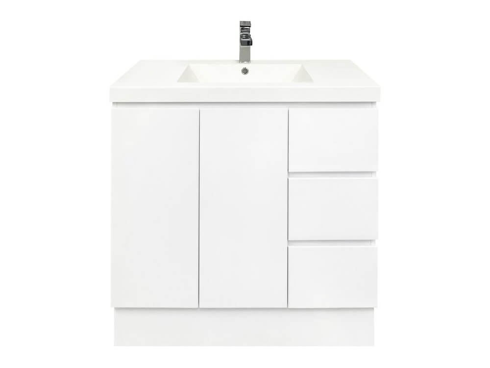Mont Albert 900 Freestanding White Vanity with Polymarble Top & Right Hand Drawers