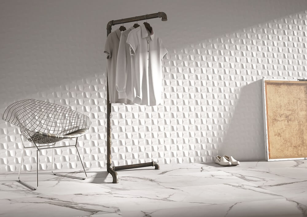 Cubic White wall tiles